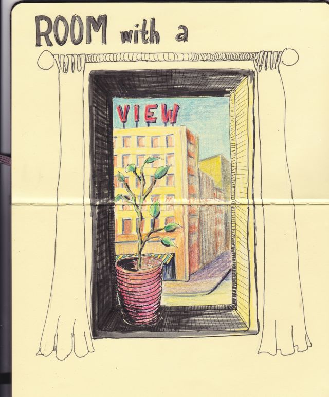 Kamer met uitzicht. Room with a view. Tekening.